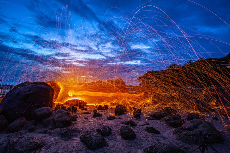 steel wool fire work on the rock royalty free stock images