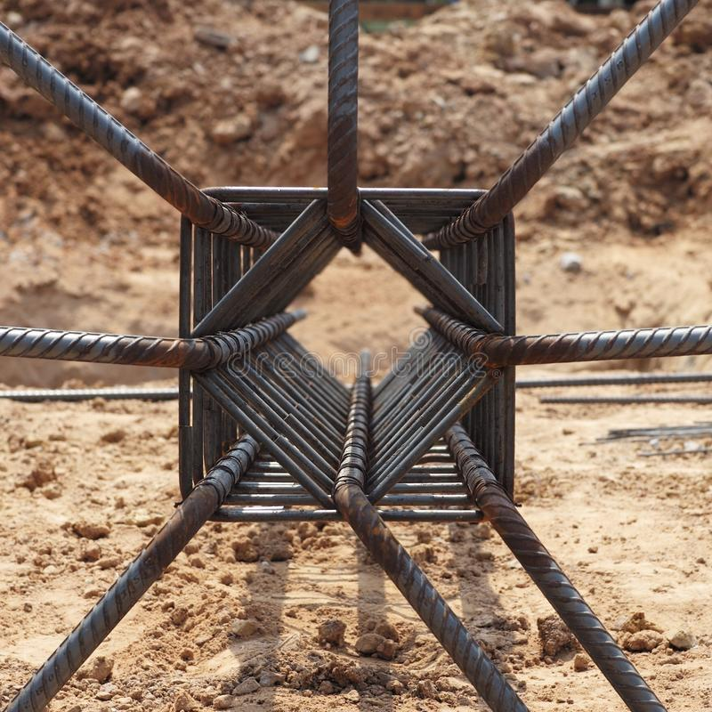 Steel work for reinforcement concrete structure. At the construction site royalty free stock photography