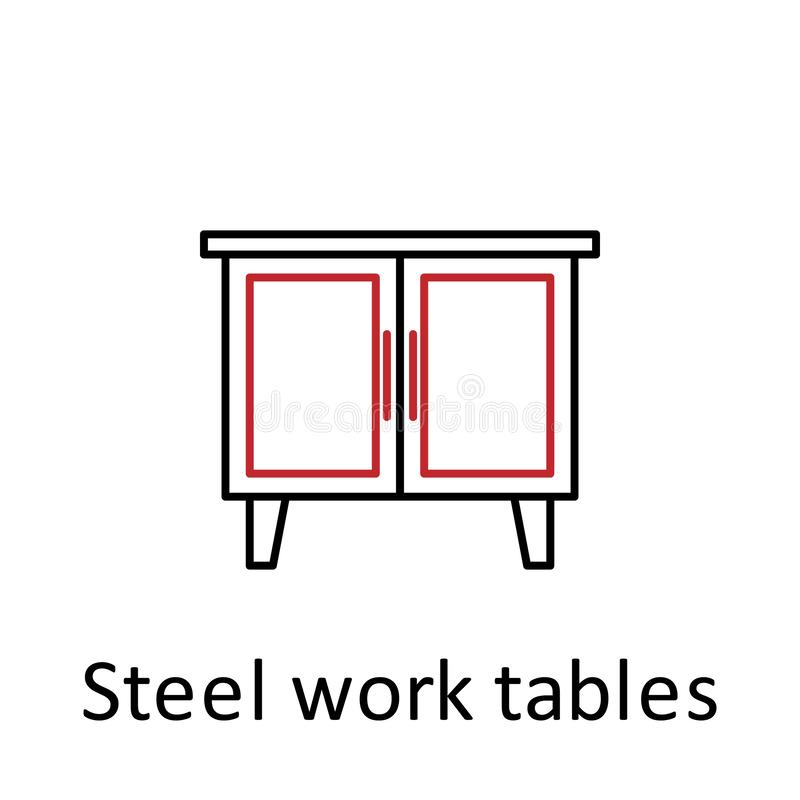 steel work tables icon. Element of restaurant professional equipment. Thin line icon for website design and development, app royalty free illustration