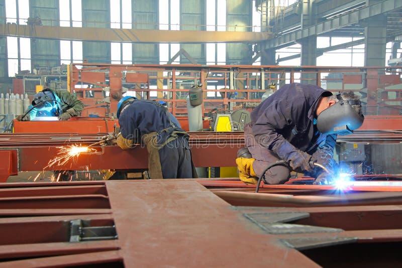 Steel workers stock image