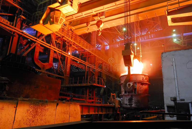 Download Steel Works, Crane With Stove Busket Stock Image - Image: 36395483