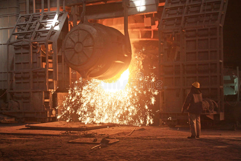 Steelmaking furnace. In a factory in china royalty free stock photography