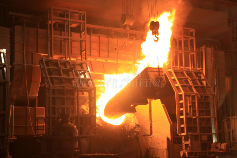 Steelmaking furnace. In a factory in china stock photos