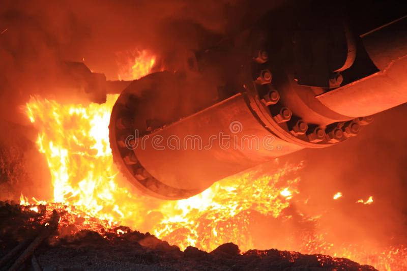 Steelmaking furnace. In a factory in china stock image