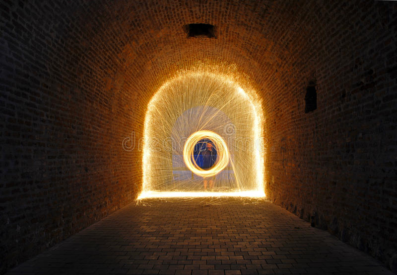 Download Steelwool Sparks Inside A Passage Stock Photo - Image: 35738816