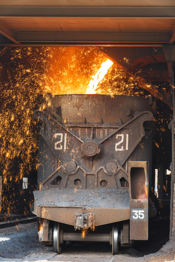 Steelworks Melt the molten steel stock image