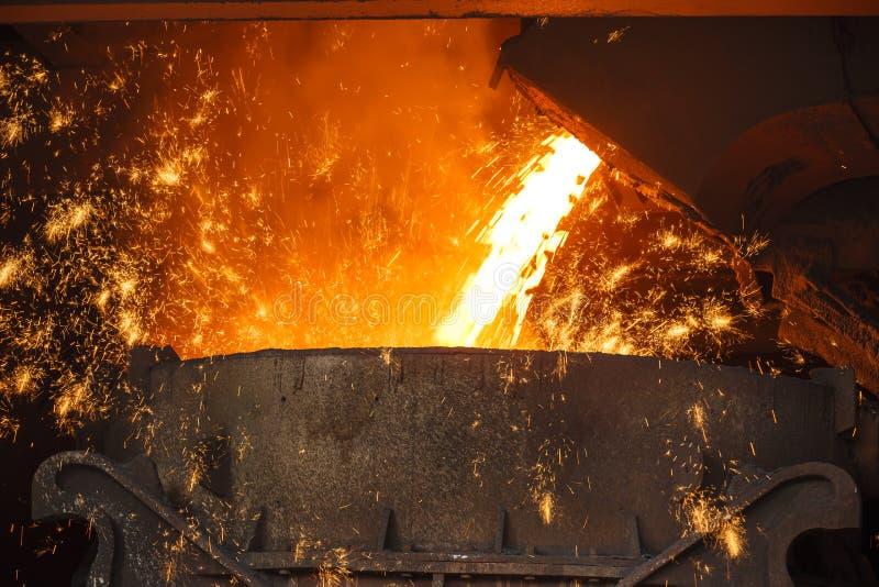 Steelworks Melt the molten steel stock photos