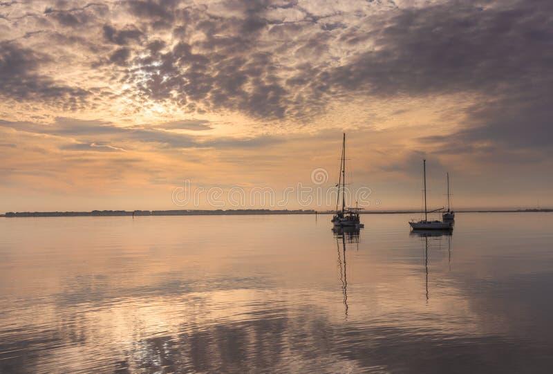 Steely Gray Morning Manteo North Carolina Waterfront stock photography