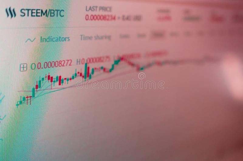 STEEM cryptocurrency贸易的应用接口 显示器的照片 cryptocurrencies的挥发性 免版税库存图片