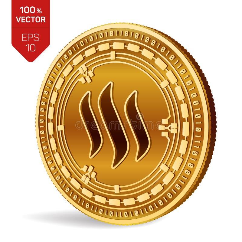 Steem pièce de monnaie 3D physique isométrique Devise de Digital Cryptocurrency Pièce de monnaie d'or avec le symbole de Steem d' illustration stock