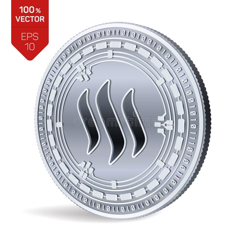 Steem pièce de monnaie 3D physique isométrique Devise de Digital Cryptocurrency Pièce en argent avec le symbole de Steem d'isolem illustration de vecteur