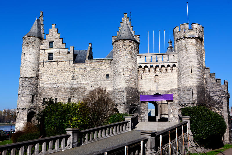 Steen Castle, Antwerpen, Belgien lizenzfreie stockbilder