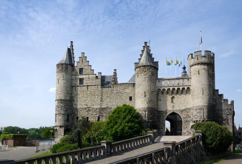 Steen Castle (Het steen) in het oude stadscentrum van Antwerpen stock fotografie