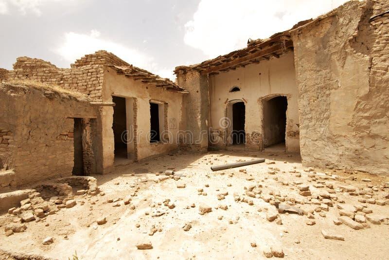 Steen en kleihuis in Arbil-Citadel, Koerdistan, Irak stock fotografie