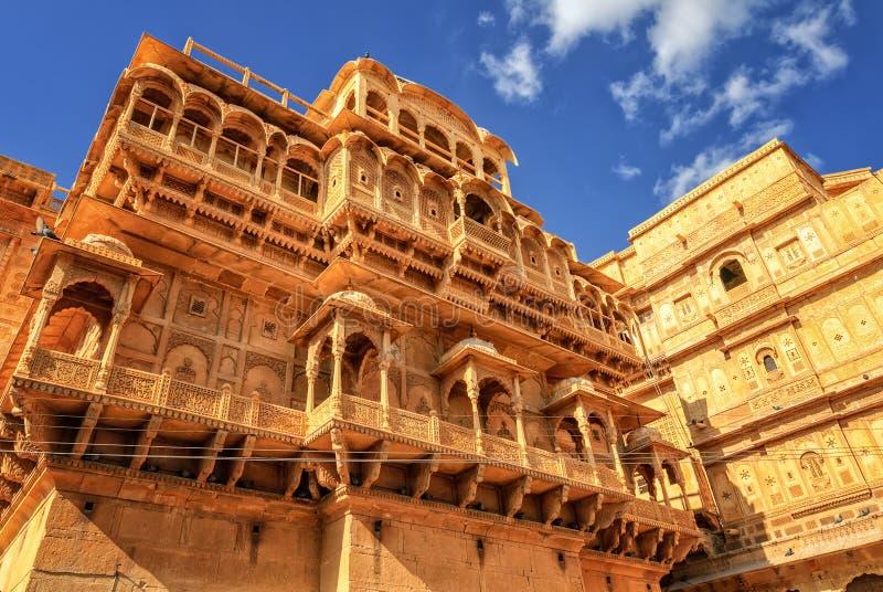 Steen gesneden huis in Jaisalmer, Rajasthan, India stock foto