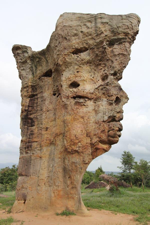 Steen gevormde gezichtsmens, mor hin khao, Chaiyaphum stock afbeeldingen