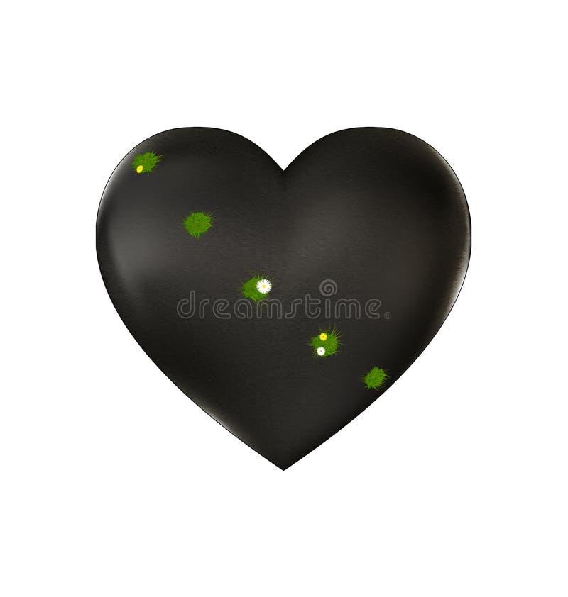 Steen gewond hart en gras vector illustratie