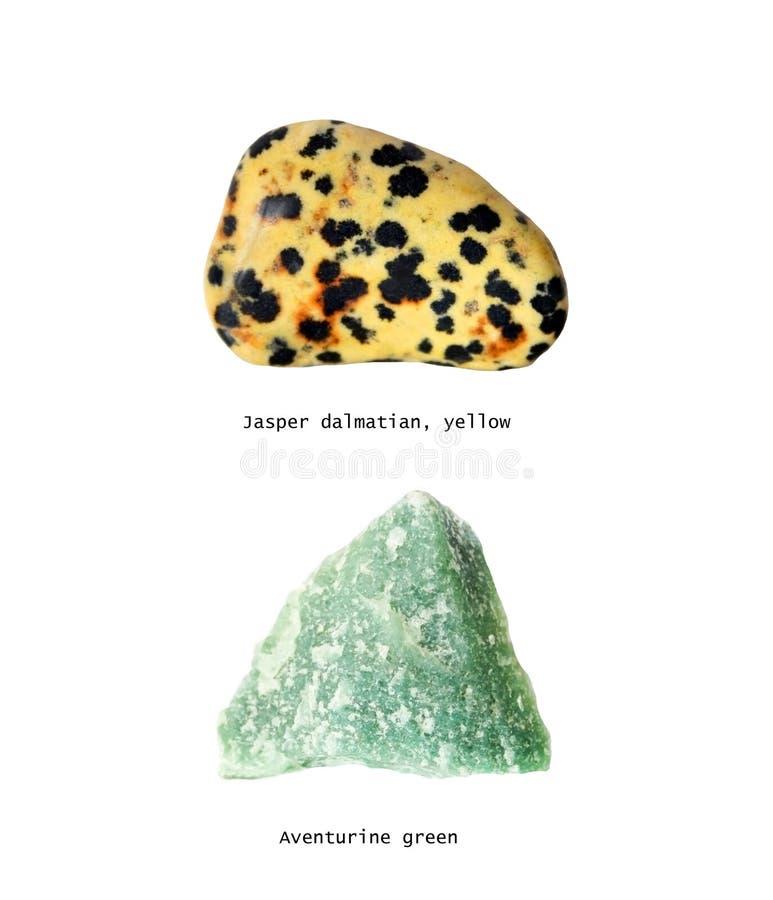 Steen Groen Jasper Dalmatin Yellow en Avanturine stock foto