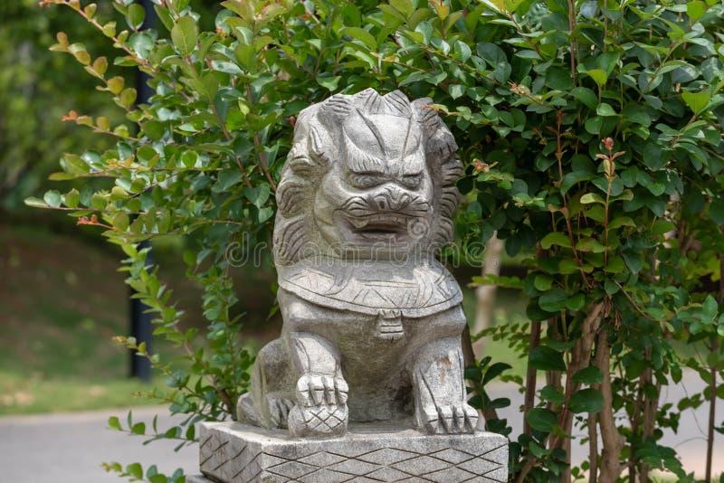 Steen leeuw-steen gravure royalty-vrije stock foto