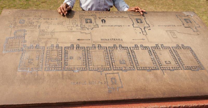 Steen met de regeling van uitgraving van universiteit van Nalanda royalty-vrije stock fotografie