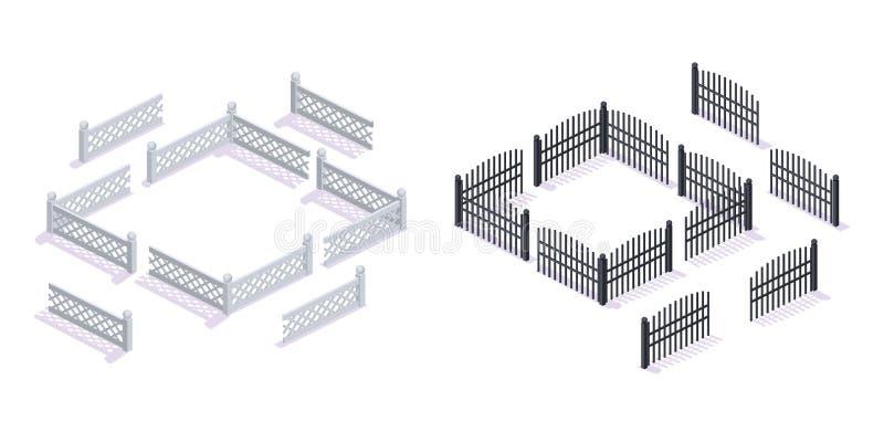 Steen, metaal 3D omheiningen, met poorten, voor tuin, stedelijke architectuur royalty-vrije illustratie