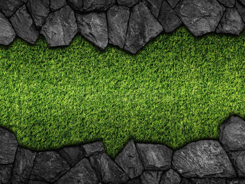 Steen op groen kunstmatig graspatroon stock foto