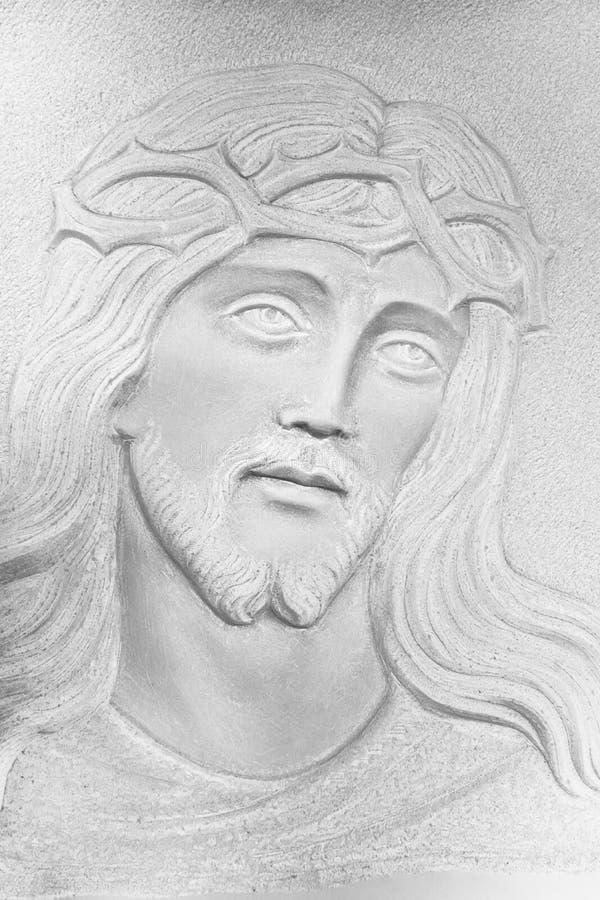 Steen witte bas-Hulp van het gezicht van Christus royalty-vrije stock afbeelding
