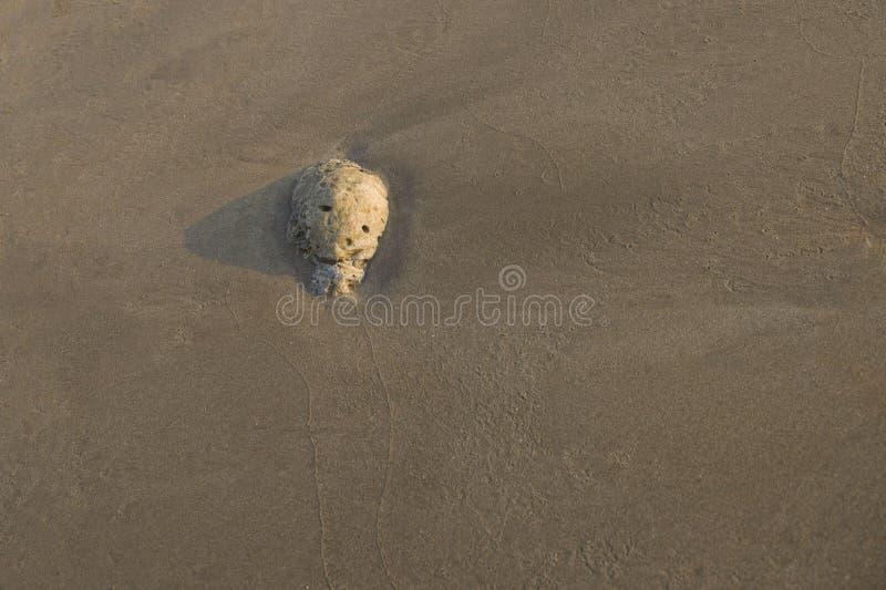 Steenabstractie in het zand op de kust stock afbeeldingen