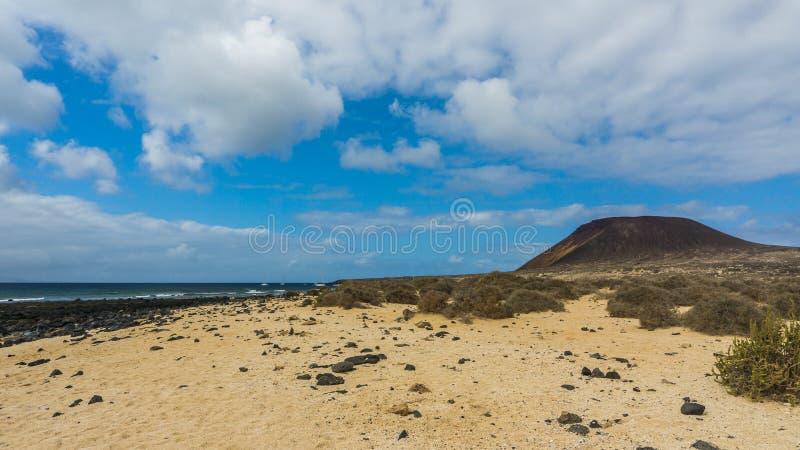 Steenachtig strand met amarilla van Montana stock foto
