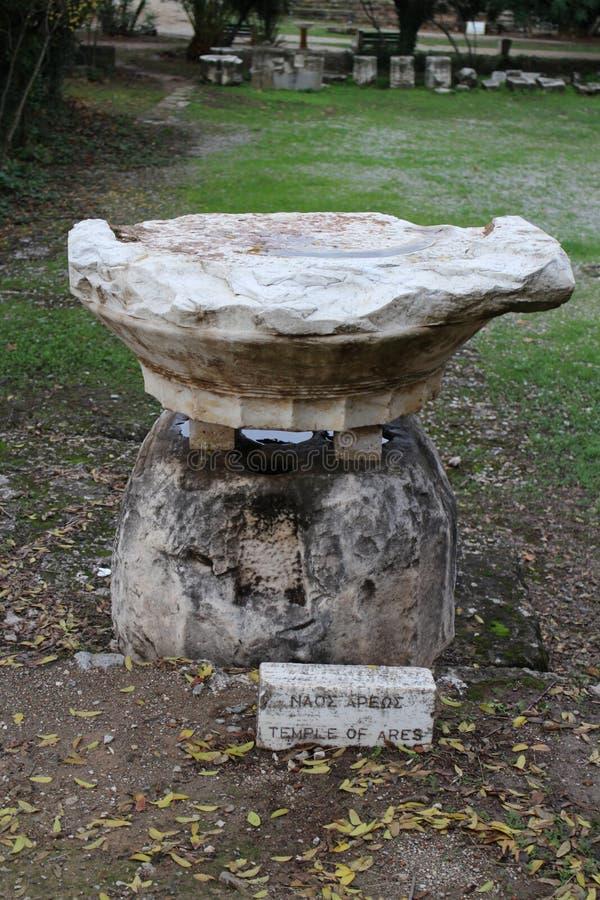 Steenachtige artefacten in Oud Agora van Athene stock afbeelding