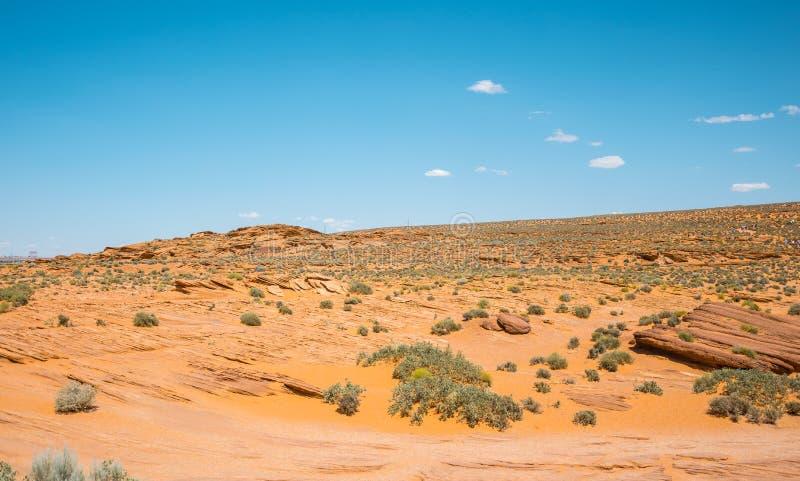 Steenachtige gele woestijn van Arizona erosie van zandsteen Zuidwestelijke Verenigde Staten royalty-vrije stock fotografie