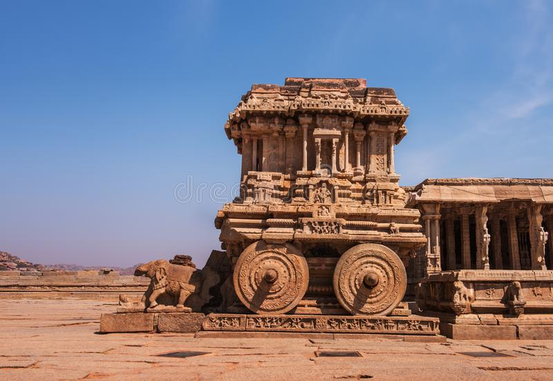 Steenblokkenwagen bij Vittala-Tempel royalty-vrije stock foto's