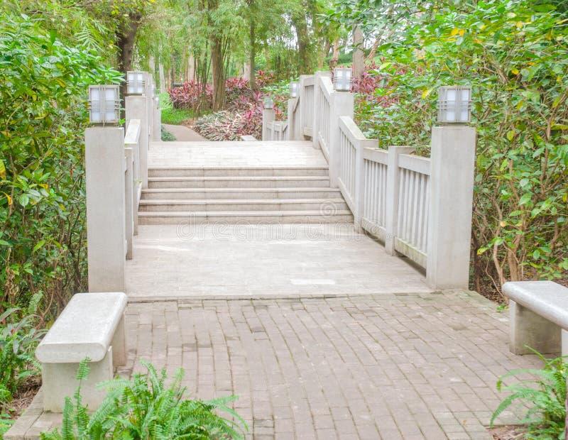 Steenbrug in het park royalty-vrije stock afbeelding