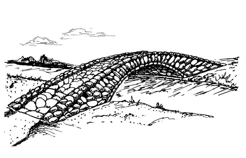 Steenbrug over het kanaal, rivier, stroom vector illustratie