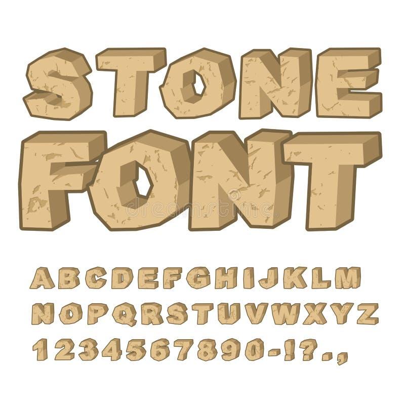 Steendoopvont Reeks brieven van stenen Alfabet en rotsen Ston stock illustratie