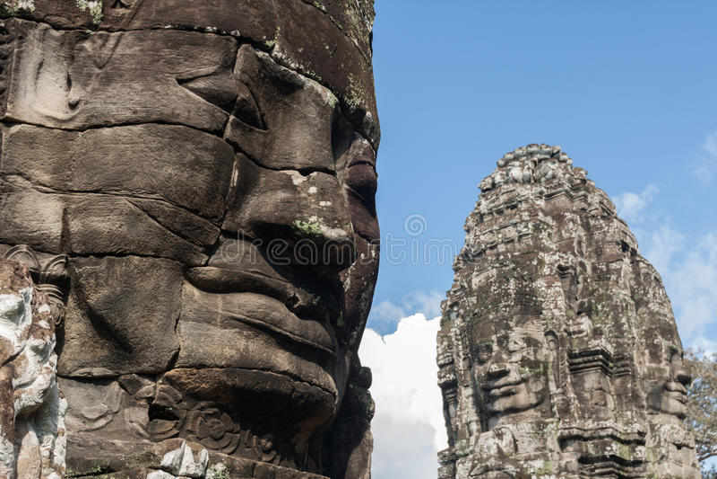 Steengezichten van Bayon-Tempel royalty-vrije stock foto
