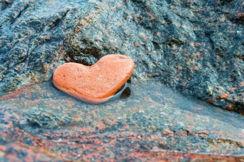 Steenhart, hart-vormige overzeese steen stock afbeelding