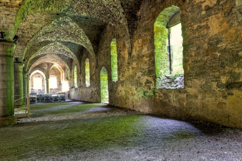 Steenkluizen van een middeleeuws gebouw stock afbeeldingen