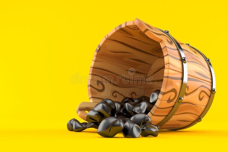 Steenkool binnen houten emmer vector illustratie