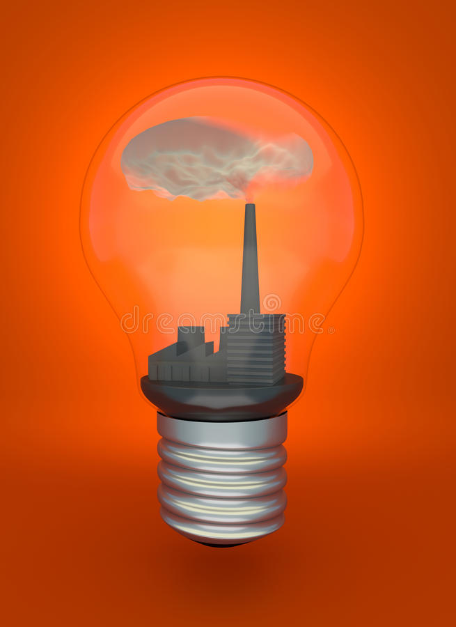 Steenkool brandende elektrische centrale in gloeilamp vector illustratie
