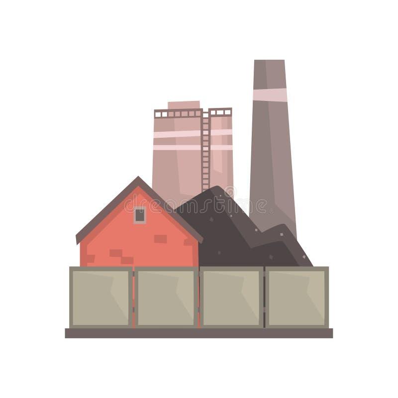 Steenkool brandende elektrische centrale, industriële manufactury de bouw vectorillustratie stock illustratie