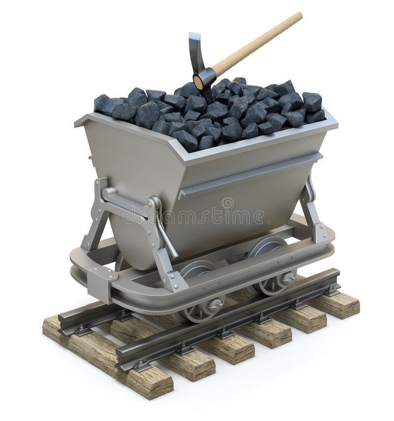 Steenkool in de mijnbouwkar royalty-vrije illustratie