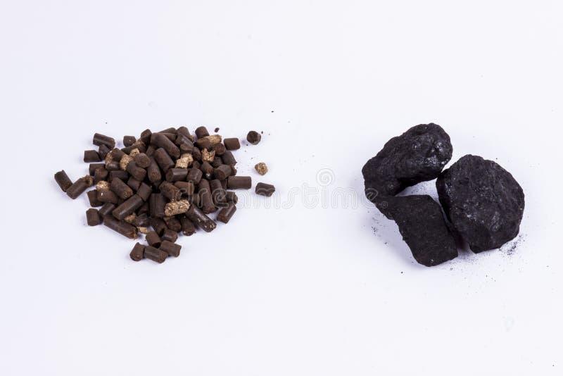 Steenkool en biomassakorrel - witte achtergrond. stock foto