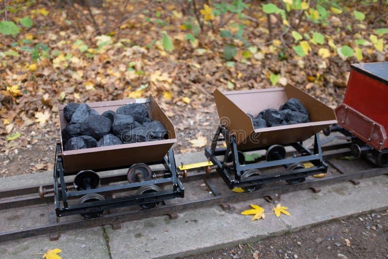 Steenkool-geladen tuinspoorweg stock foto
