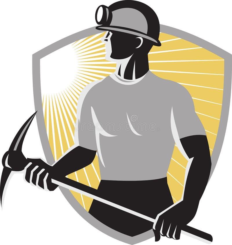 Steenkool-mijnwerker-oogst-bijl-schild stock illustratie