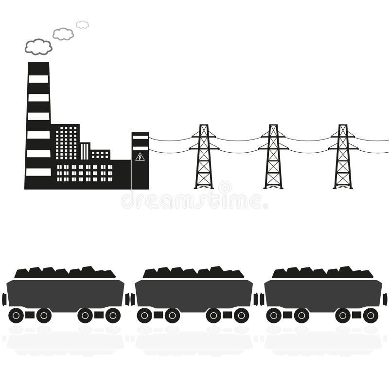 Steenkoolelektrische centrale en trein met steenkool eps10 royalty-vrije illustratie