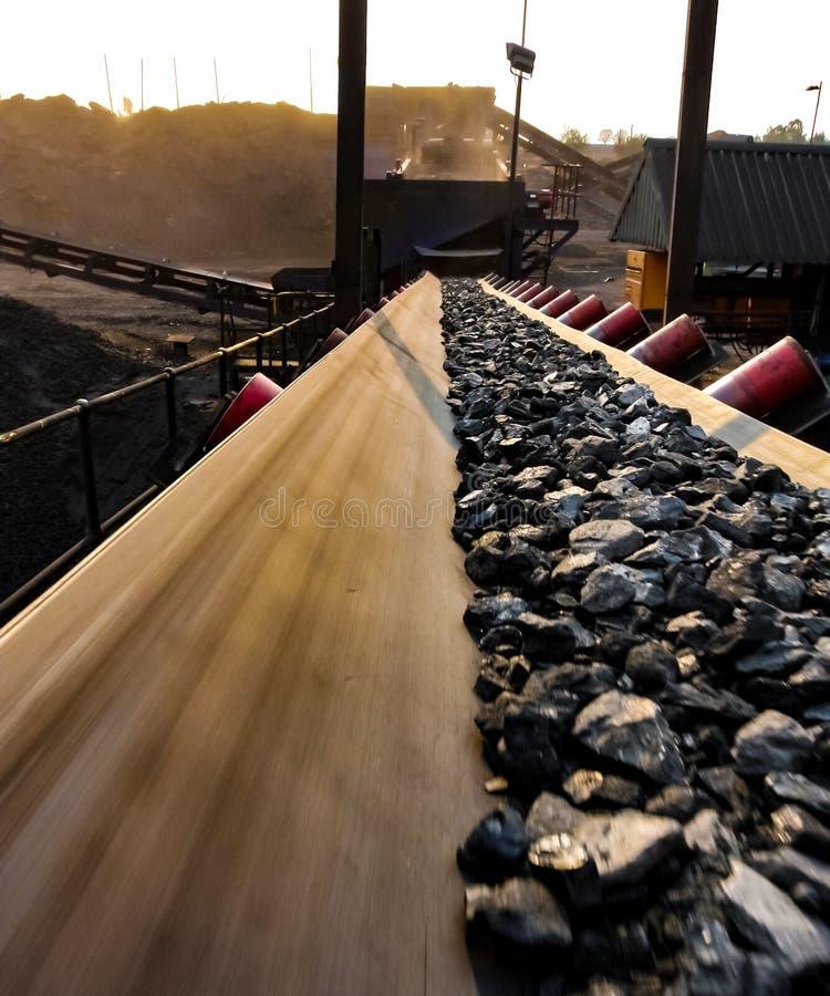 Steenkoolerts op een transportband voor verwerking stock foto