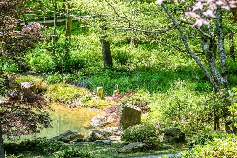 Steenkranen in Tuin royalty-vrije stock afbeeldingen