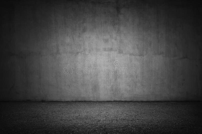 Steenmuur en grijze vloer royalty-vrije stock afbeelding