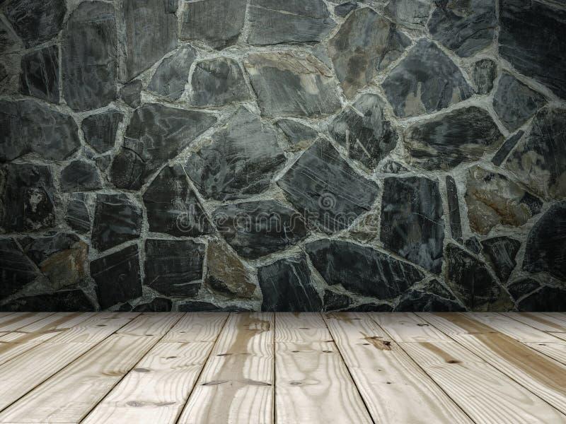 Steenmuur en houten vloer royalty-vrije stock afbeelding